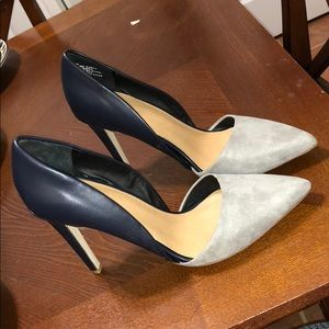 Navy leather and Grey suede 4 inch pumpsNEVER WORN